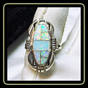 Sterling Silver Ring with Stone on Metal Opal Inlay