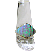 Sterling Silver Dome Shape Ring with Opal Inlay