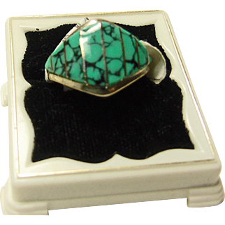 Zuni Cigar Band Ring in Sterling with Spiderweb Turquoise