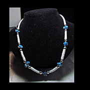 Turquoise Nugget and Shell Heishi Necklace with Silver Overlay Beads