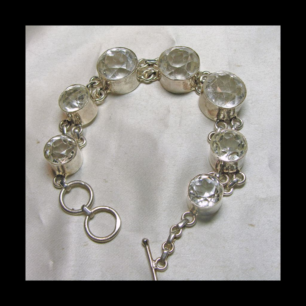 Round Facetted Natural Quartz Crystal and Sterling Silver Bracelet