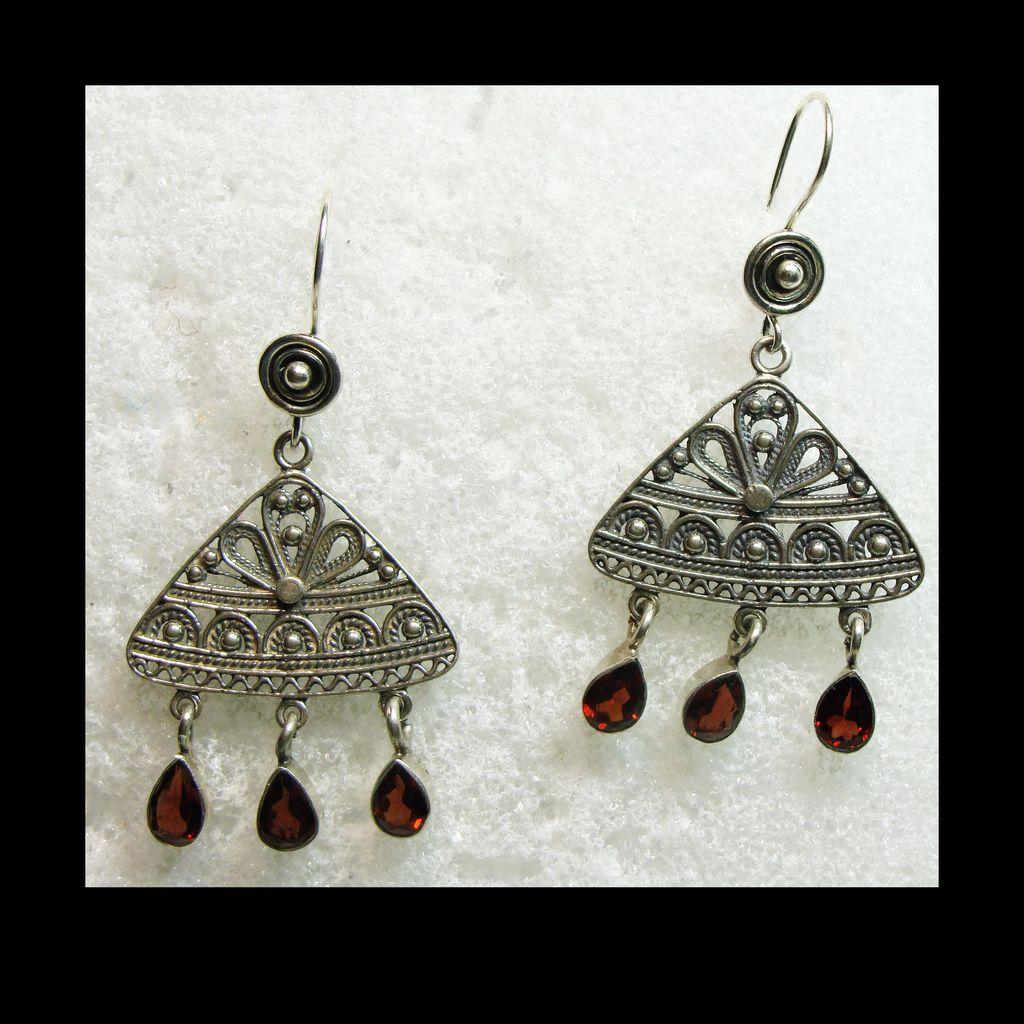 Sterling Silver Filigree and Garnet Drop Style Earrings