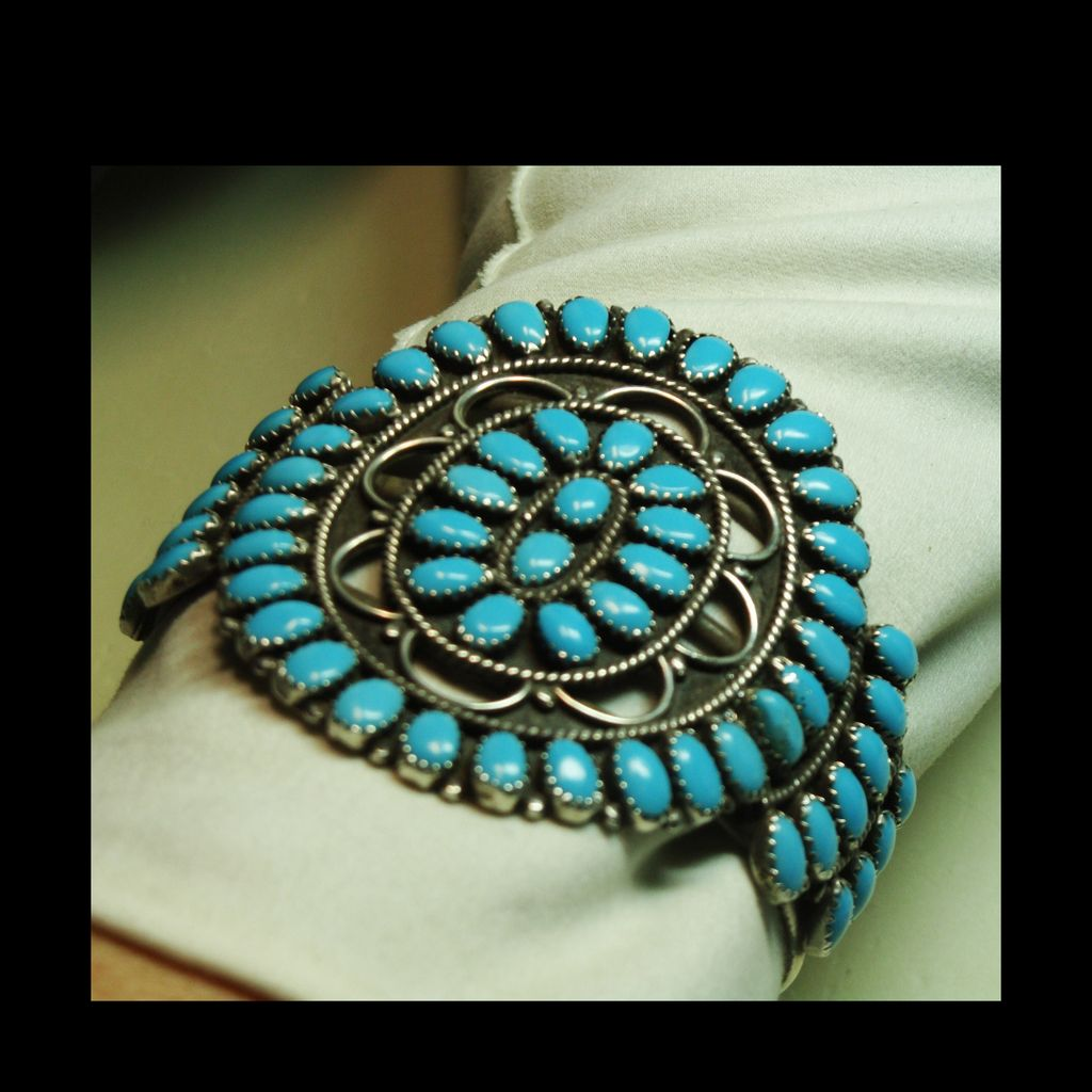 Vintage Sterling Silver and Turquoise Cluster Bracelet with Cutout Designs