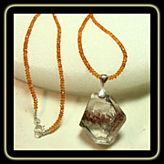 Lodolite Pendant on Hessonite Garnet Necklace