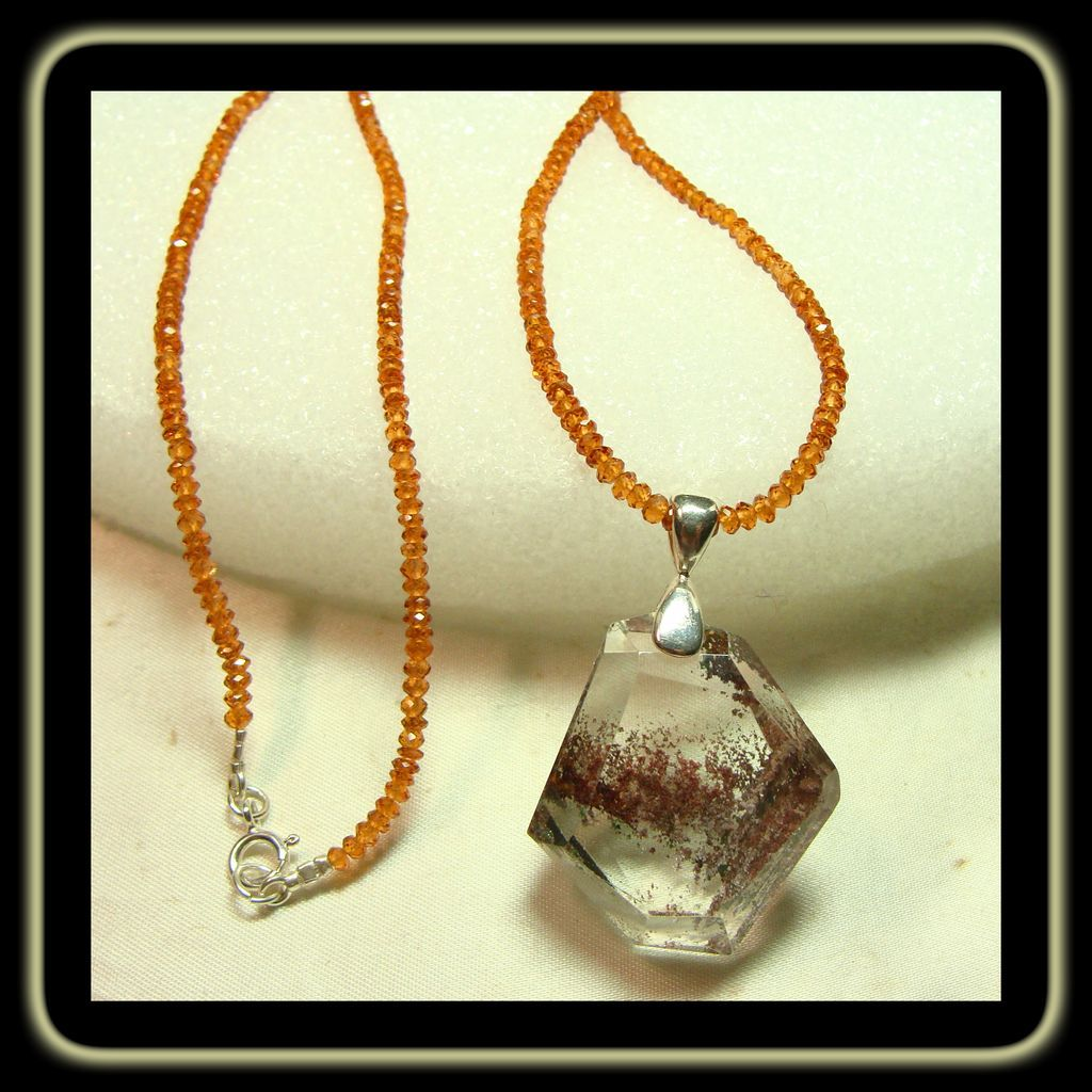 lodolite pendant on hessonite garnet necklace lindas