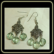 Chandelier Sterling Silver Earrings with Fluorite Drops