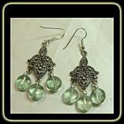 Chandelier Sterling Silver Earrings with Fluorite Drops