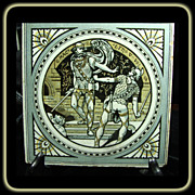 Minton 3 Color Ceramic Tile of Shakespeare's MacBeth