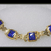 Vermeille Link Bracelet with Deep Blue Enamel