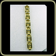 Retro Tank Track Link Bracelet in a Brilliant Vermeille