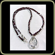 Super Seven Crystal on Garnet Bead Necklace