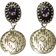 Leander Tahe Sterling Silver and Amethyst Earrings
