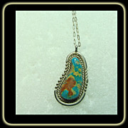 Turquoise and Sterling silver Pendant on a Silver Chain