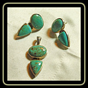 Turquoise and Sterling Silver Necklace and Earrings