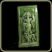 Rare Hamilton Tile Works Tile of  Woman with a Parrot with Dog at Her Feet