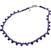 Amethyst Briolette and Bead Sterling Silver Necklace