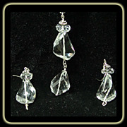 Faceted Natural Quartz Sterling Silver Pendant with Chain and Earrings
