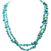 2 Color Turquoise Nugget and Shell Heishi Necklace with Bone Bead Accents