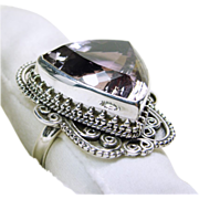Tibetan Sterling Silver Filigree Ring with Trillion Cut Lavender Amethyst