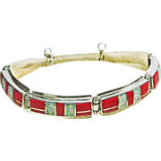 Sterling Silver Link Style Bracelet with Coral and Opal Inlay
