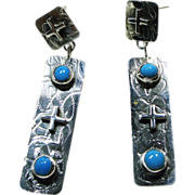Sterling Silver Earrings with Turquoise  by Nakai