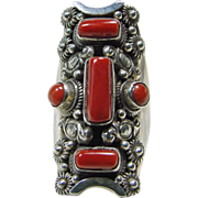 Tibetan  Sterling Silver and Red Coral Ring