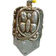 Tibetan Sterling Silver Design Decorates Natural Quart Pendant