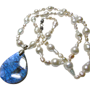 Freshwater Pearl Necklace with Stunning Blue Labradorite Pendant