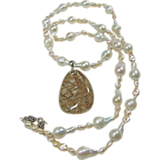 Sterling Silver Freshwater Pearl Necklace with Amazing Rutile Quartz Pendant
