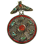Tibetan Brass 2 Part Pendant with Turquoise and Coral Chip Inlay