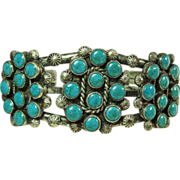 Sterling Silver Triple Wire Cuff Bracelet with Blue Green Turquoise