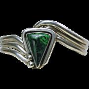 Navajo Sterling & Azurite Bracelet by Wes Craig