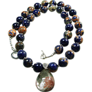 Orange Sodalite Bead Necklace with Lodalite Pendant