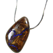 Cobalt Blue Opal Ribbon in Brown Ironstone Pendant on a Silver Chain