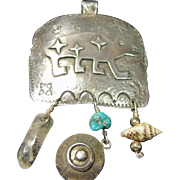 "Sterling ""Bear Petroglyph Pendant by Turza & Andrew Shows"