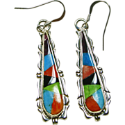 Sterling Silver Earrings with Colorful  Stone on Stone Inlay