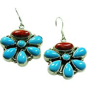 Sterling Silver Turquoise and Spiny Oyster Earrings