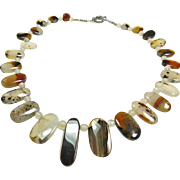 Montana Agate and Moonstone Bead necklace