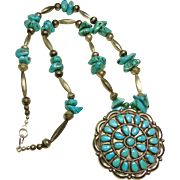 Sterling Silver Bench  Bead and Turquoise Nugget Necklace with Sterling and Turquoise Cluster Pendant