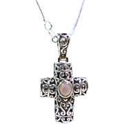 Sterling Silver Filigree Cross Pendant  with  Chain