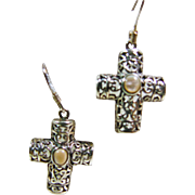 Sterling Silver Filigree Cross Earrings with MOP