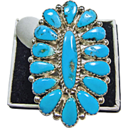 Sterling Silver Sleeping Beauty Turquoise Cluster Ring