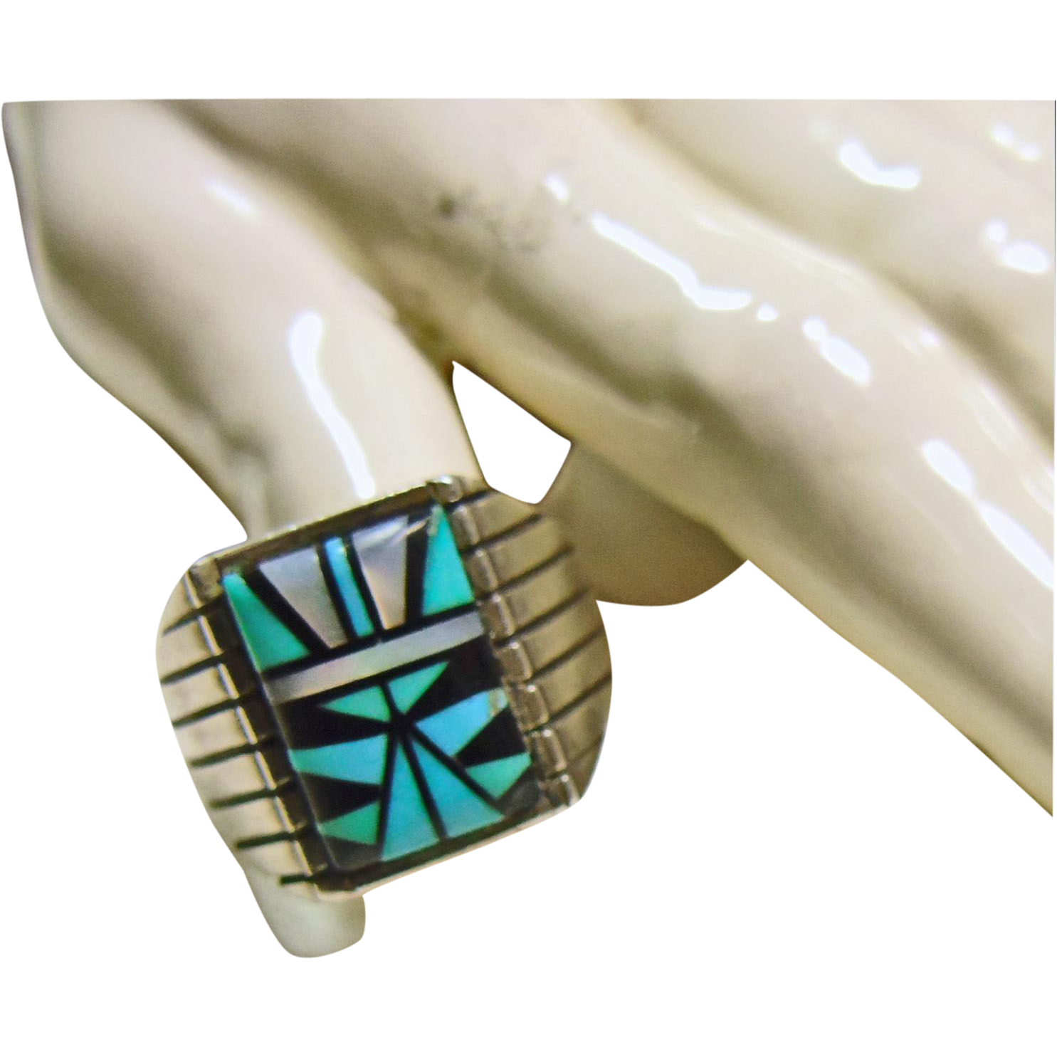Sterling Silver Signet Style Ring Decorated with Stone on Stone Inlay