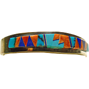 Sterling Silver Cuff Bracelet with Multiple Color by Edward Becenti