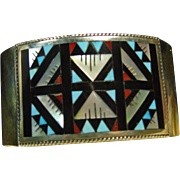 Zuni Sterling Silver Cuff Bracelet with Stone on Stone Inlay by Leander Othole