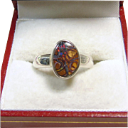 Sterling Silver Red Boulder Opal Ring