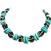 Sleeping Beauty Turquoise and Natural Quartz Crystal Necklace