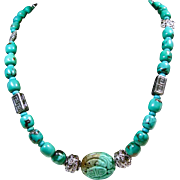 Chinese Turquoise Necklace with Bali Sterling Silver Beads and Carved Chinese Turquoise Focal Point Bead