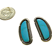 1950's Sterling Silver Earrings with Sleeping Beauty Turquoise