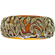 Tibetan Bone Bangle with Sterling Silver Applied Decoration